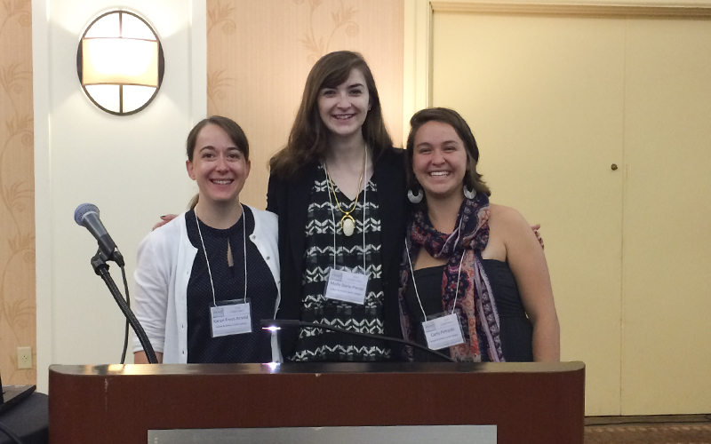 "Molly Doris-Pierce '15, Carly Petroski '15, and Karen Frost-Arnold Associate Professor of Philosophy presented their co-authored paper ""Silencing the Silencers: The Ethics of Feminist Trolling to Combat Online Hate Speech"" at the Feminist Ethics and Social Theory conference in Clearwater Beach, FL.-Date of the presentation (Sunday Oct. 4th).-Our conference travel was sponsored by the President's Office and the Philosophy Department.-The paper discusses ways to prevent online hate speech and harassment on the social media app Yik Yak.-The paper was co-authored and co-presented by all three of us in a completely collaborative research project between students and professor."