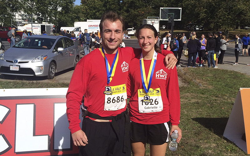 For TWIPFrom: wes traub Sent: Sunday, October 11, 2015 6:55 PMTo: Williams, CathySubject: Cathy! I've got a photo for twip if you can slip us in there. My girlfriend Bree von Bradsky '16 and I completed the Boston half marathon in Jamacia Plain today. I work here and she was visiting for fall break. Hope all is well! If this should be sent to Kevin Colton let me know. Cheers, Wes