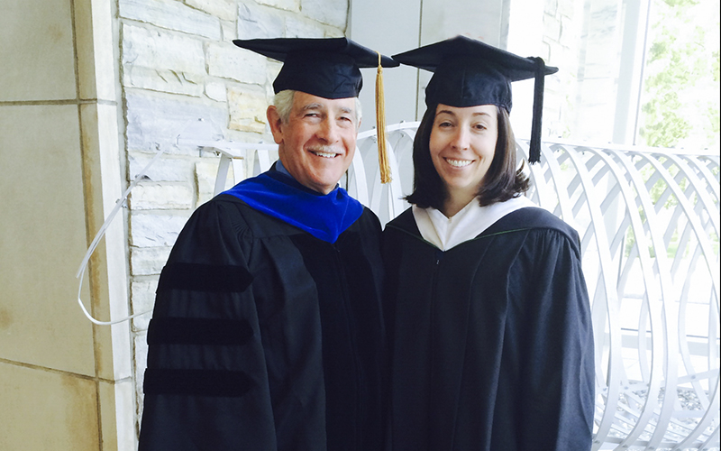 Lindsey Dick Riter '09, MAT '10 and Michael Dick, '70, P'09, representing HWS at inauguration of new Middlebury college President.