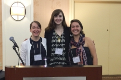 """Molly Doris-Pierce '15, Carly Petroski '15, and Karen Frost-Arnold Associate Professor of Philosophy presented their co-authored paper """"Silencing the Silencers: The Ethics of Feminist Trolling to Combat Online Hate Speech"""" at the Feminist Ethics and Social Theory conference in Clearwater Beach, FL.-Date of the presentation (Sunday Oct. 4th).-Our conference travel was sponsored by the President's Office and the Philosophy Department.-The paper discusses ways to prevent online hate speech and harassment on the social media app Yik Yak.-The paper was co-authored and co-presented by all three of us in a completely collaborative research project between students and professor."""