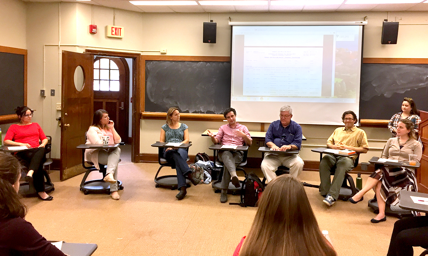 Assistant Professor of Psychology Daniel Graham speaks to students during the Psi Chi Psychology Faculty Advising panel in Coxe Hall on Monday.