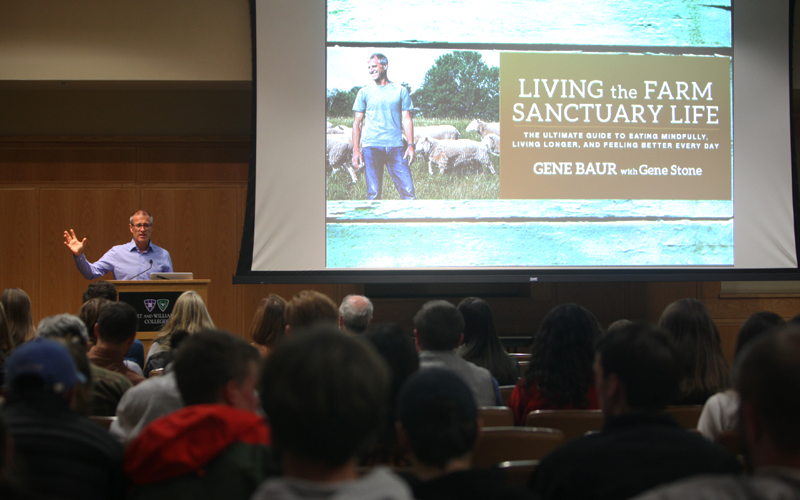 On Monday night, nationally known author and activist, Gene Baur, spoke to students and faculty about realities of factory farming, and living a compassion-filled life.  Baur founded the Farm Sanctuary, an organization that spreads awareness and rescues animals from factory farms. The event was sponsored by the HWS Sustainable Foods Club and the Environmental Studies Program in correlation to HWS Food Week.