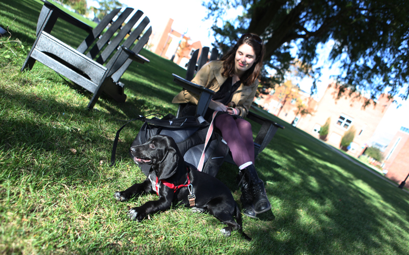 Colleen Moore '16 babysits friend, Virginia DeWees' '16, dog Georgia.