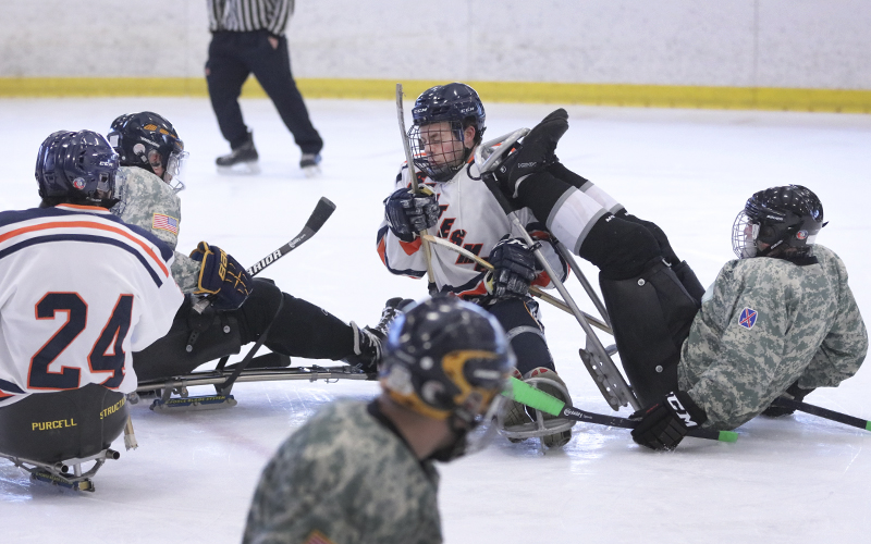 Hobart College hockey team will take on the 3-85th Mountain Warriors Sled hockey team from Fort Drum, New York, in a game of sled hockey.