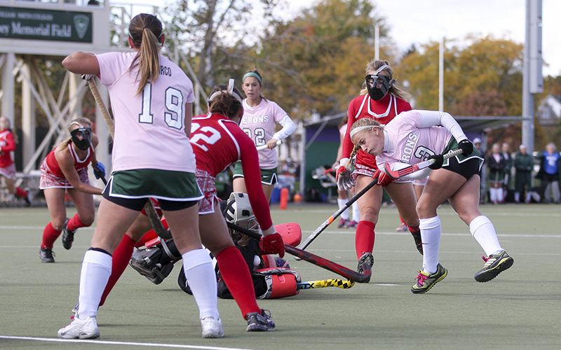 William Smith Forward Hannah Wood takes a quick shot on goal agaist Cortland during Saturdays Breast Cancer Awerness Game. The Heron's sporting pink jerseys shut out the Dargons 3-0.