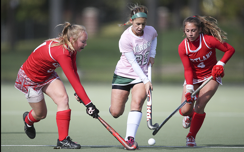 Heron Midfielder Alexandra Frary splits the Ciurtland defenders on her way down flield. William Smith hosted the Dragons Saturday on McCooey field during thier 3-0 victory and continuing thier 13-1 season.