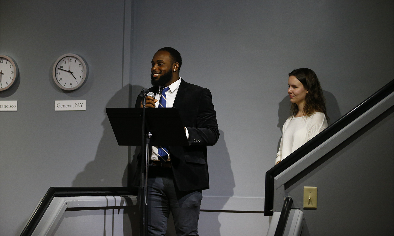 Al Smith '19 and Chloe Elmer '20 speak about their student expweriences during the reception for the Bozzuto Center for Entrepreneurship.