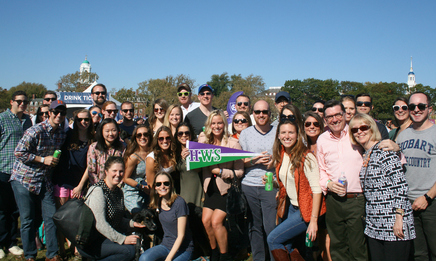 Alumni, students and friends of the Colleges gather at the Head of the Charles Regatta in Boston, Massachusetts.  The Hobart Statesmen and William Smith Herons rowing teams both competed.