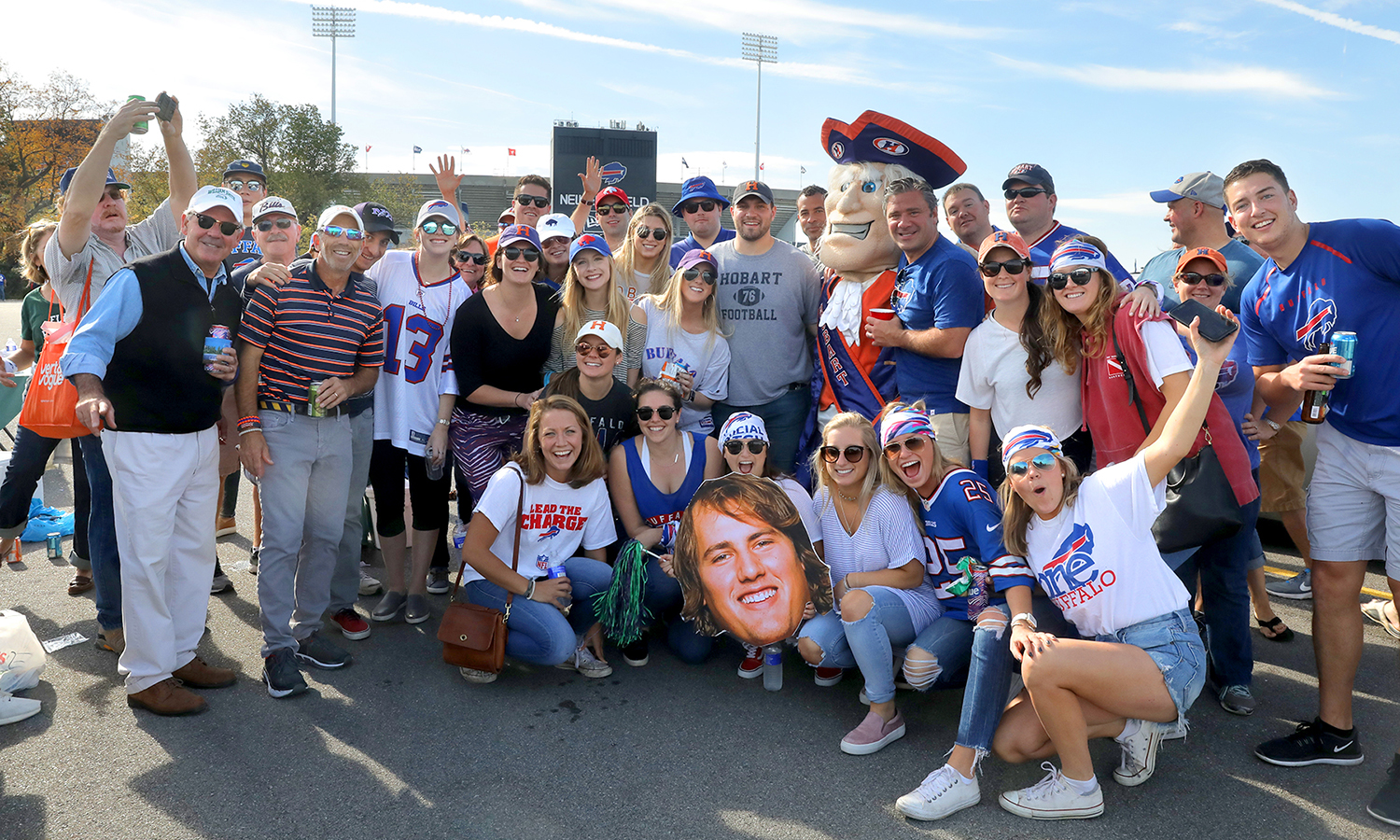 Students, parents and alums gather outside of New Era Stadium to tailgate for the Buffalo Bills vs. Tampa Bay Buccaneers game.  Hobart alumnus Ali Marpet '15 plays for Tampa Bay.