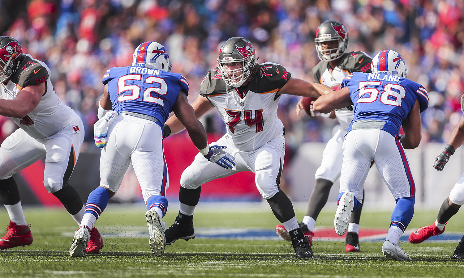 Hobart alumnus Ali Marpet '15 pass blocks during the Buffalo Bills vs. Tampa Bay Buccaneers game on Sunday.  Marpet remains the highest drafted DIII player in NFL history.