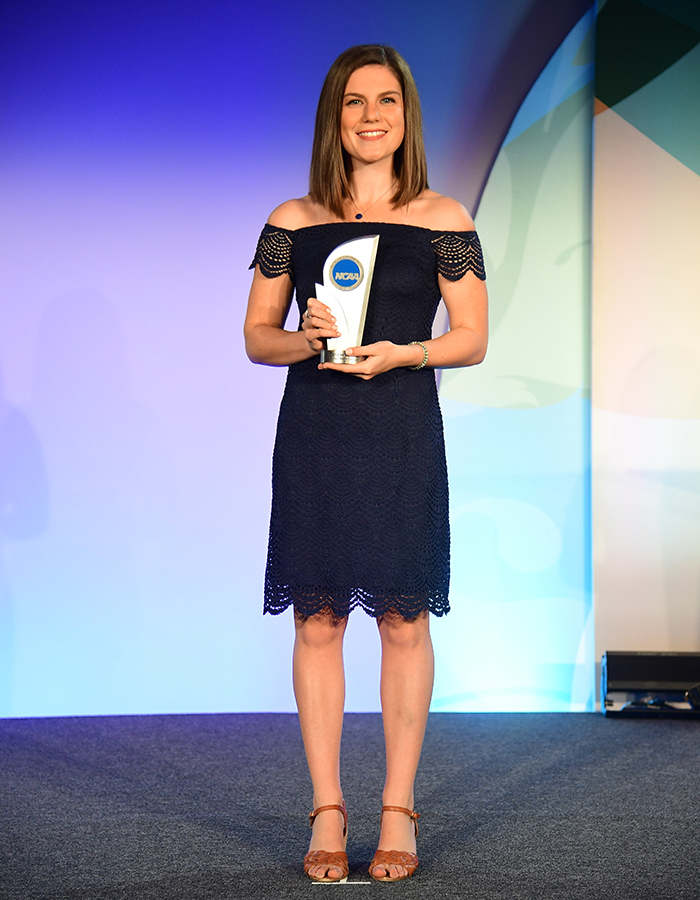 William Smith Herons Caroline Conboy '17 accepts her award in Indianapolis, IN after being named an NCAA Woman of the Year Finalist.