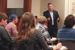 Michael Richardson P'17, Executive Vice President of Sales and Marketing for REIS, gives a presentation for students interested in the commercial real estate industry as part of the Professional in Residence Speaker Series through Career Services.