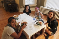 Students come together for annual Pasta Night at the Pastor's house every Wednesday. This being food week, an espcially large turnout was to be had.