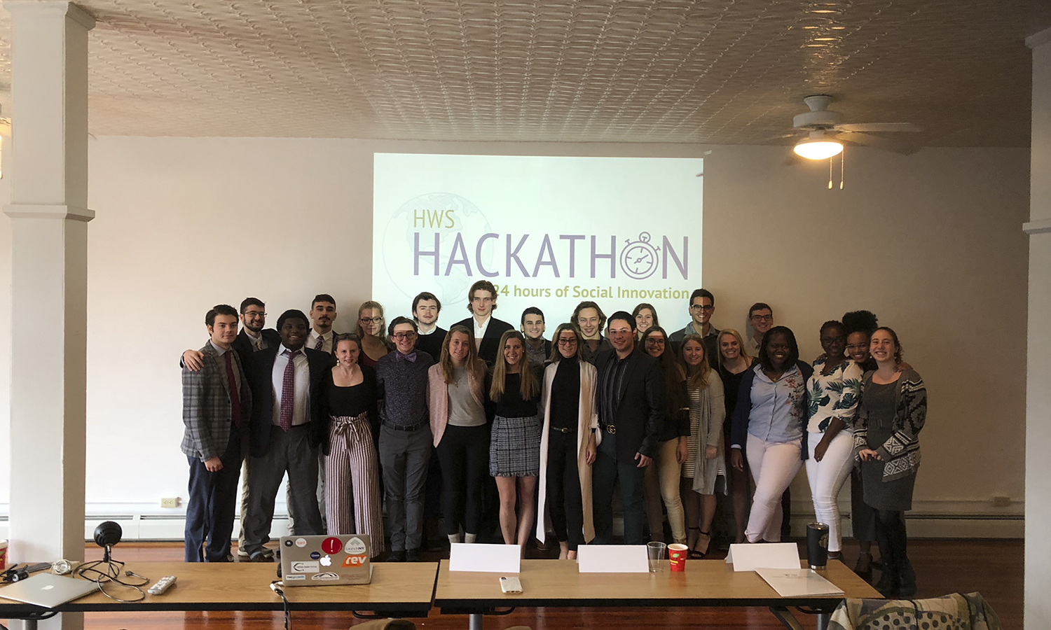 Participants spanning across 8 teams posed at the completion of the fourth annual Centennial Center for Leadership's 24-hour Hackathon that lasted from October 27 to 28.