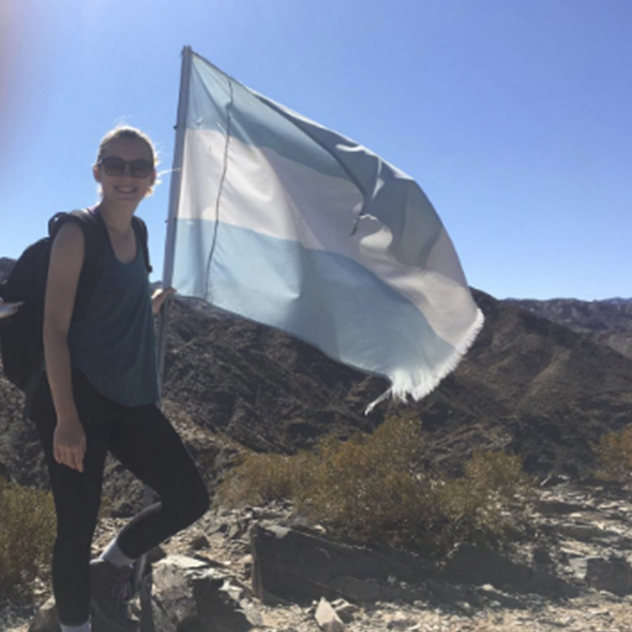 Alexandra Bilodeau '20 hikes within the (Uco Valley) in Mendoza, Argentina as she studies abroad.