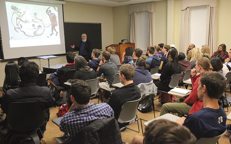 "Dr. Morris Rossabi, one of the world's foremost experts on Mongolia and the Mongols, gives his talk ""Genghis Khan and Kublai Khan: Conquest and Rule"" as part of the Tanaka Asian Studies Lecture Series in Stern 203."