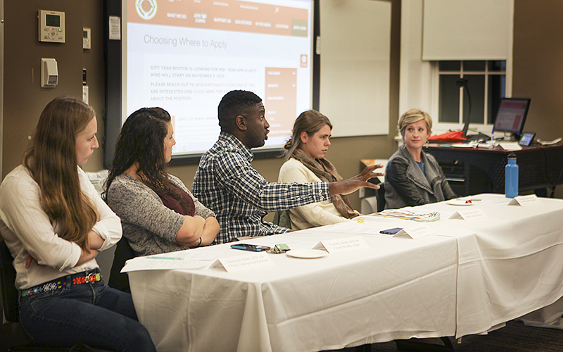 HWS held an AmeriCorps Information session, a program that creates jobs and provides opportunities for young professional entering the workforce, where they gain valuable insight into the necessary working skills, in Merritt Hall 100.