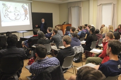 """Dr. Morris Rossabi, one of the world's foremost experts on Mongolia and the Mongols, gives his talk """"Genghis Khan and Kublai Khan: Conquest and Rule"""" as part of the Tanaka Asian Studies Lecture Series in Stern 203."""
