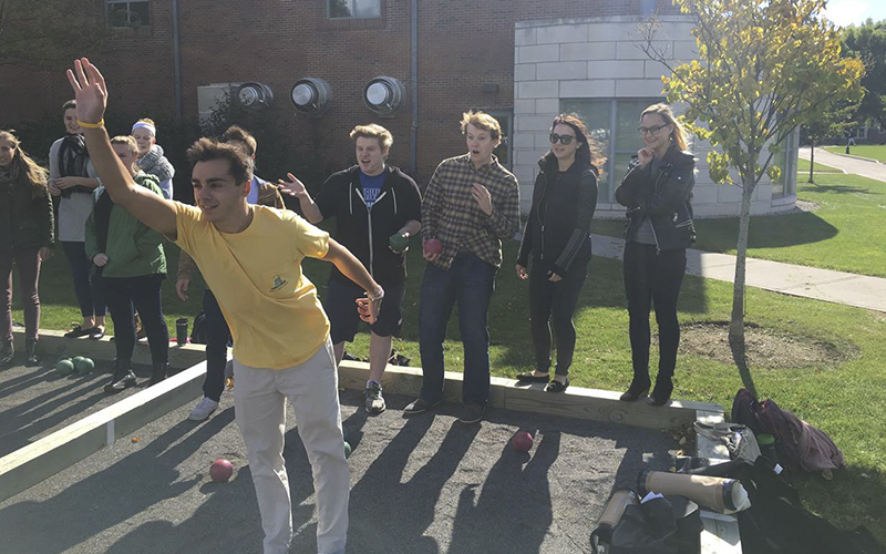 From: Wells, Courtney Sent: Thursday, October 29, 2015 4:14 PMTo: LeClair, MarySubject: Photos for Twip Dear Mary, Please find attached below two fun photos from my FRE244: Le Midi de la France class. In the photos, students are learning to play the southern French game pétanque. Would it be impossible to include one of them on TWIP? The students would be thrilled to see their activities in class included. Everyone on campus would also be interested to see the courts being used in classes, as well.  Please let me know if you have any questions! And thank you.  Best,Court