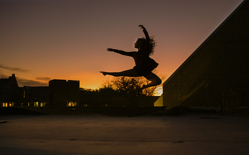 Morgan Drake '16 a William Smith Dance Major, dances at sunset for her photoshoot creating images for her dance portfolio.