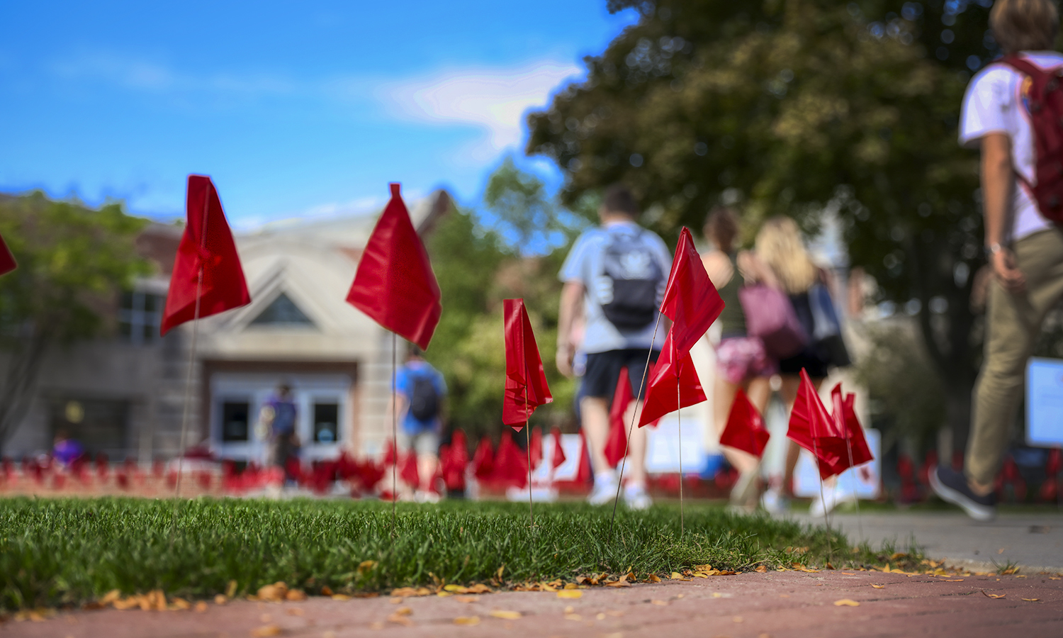 In conjunction with the national Red Flag Campaign, flags placed in front of the Scandling Campus Center this October represent dating violence prevention and awareness.