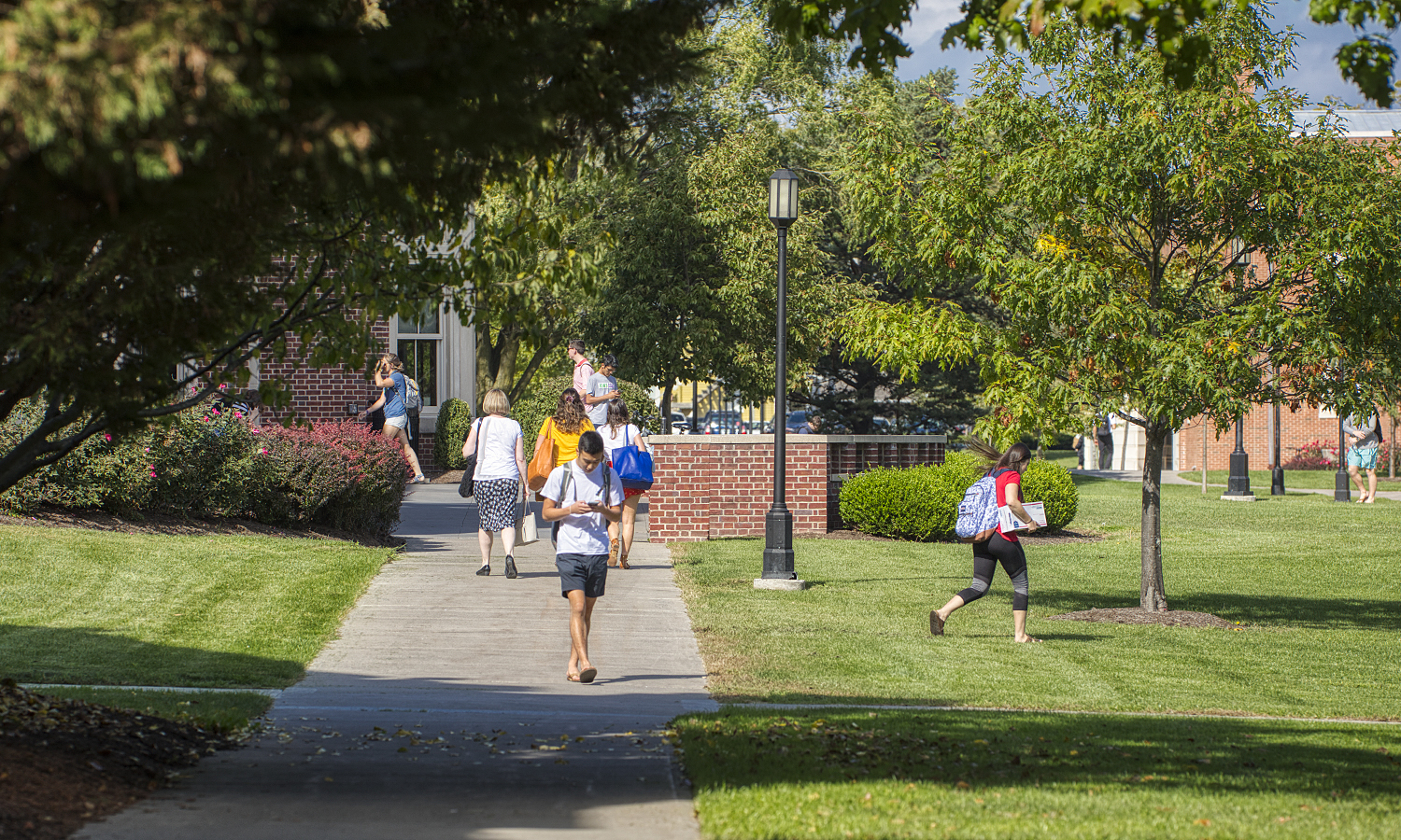 Students walk across the William Smith Green.