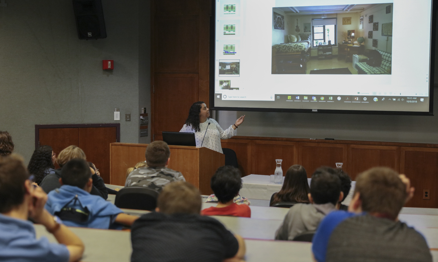 Assistant Director of Residential Education Ashley Harling '16 gives a presentation on dorm life to local 9th graders in the Geneva Room. As part of the Geneva 2020 initiative, students spent the day on the HWS campus learning about paths to higher education.