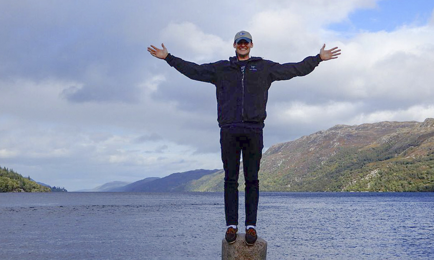 During a weekend excursion while studying abroad in Edinburgh, Scotland, John Schenk '20 poses in front of Loch Ness in Inverness, Scotland.