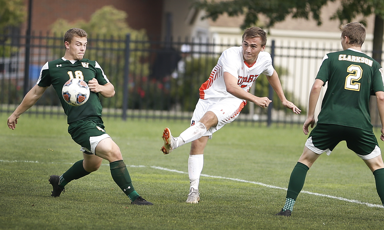 Kyle Mangold '21 scores in the ninth minute during the 1-0 win against Clarkson College on Cozzens Field.
