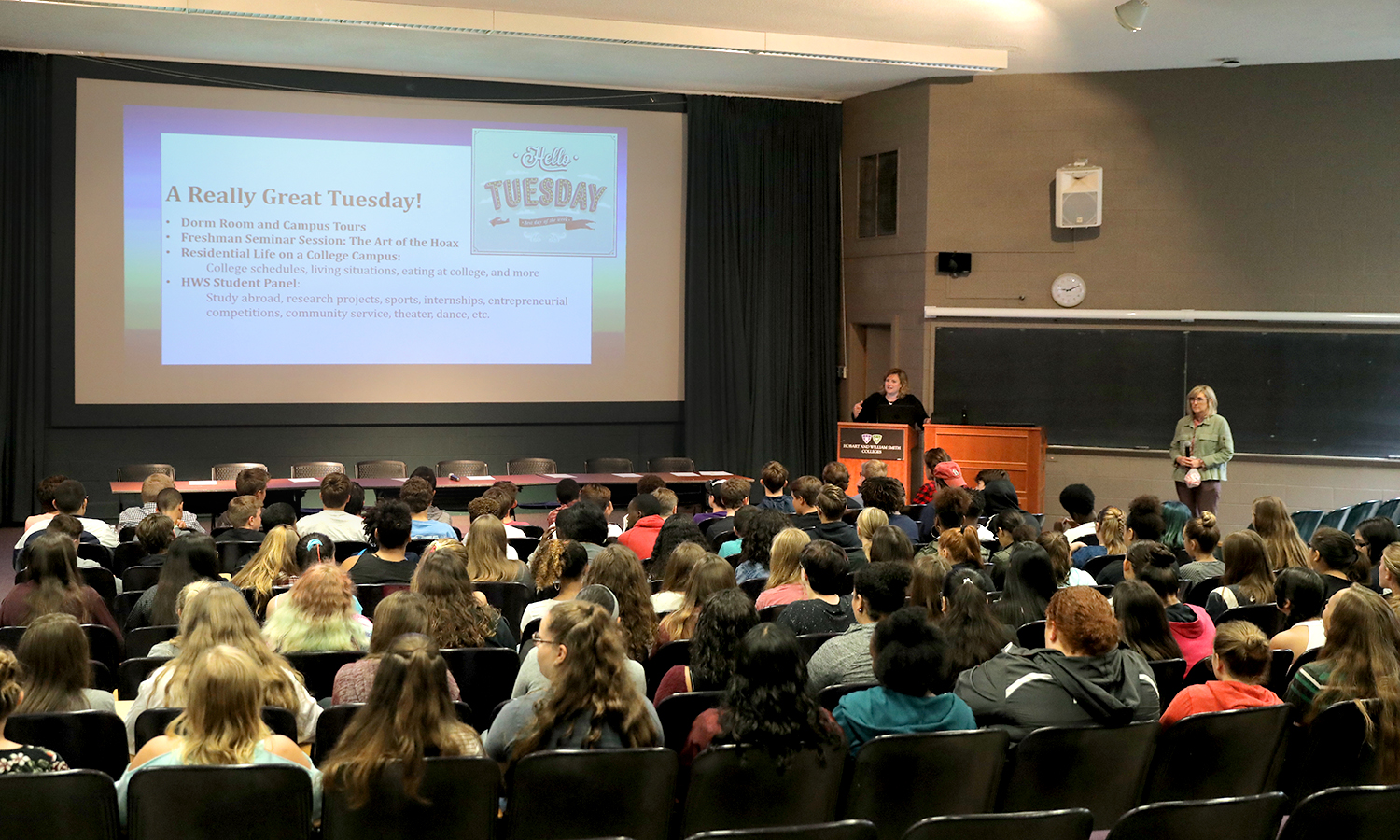 Amy Jackson Sellers introduces 9th grade visitors from Geneva City Schools in Albright Auditorium on Tuesday.