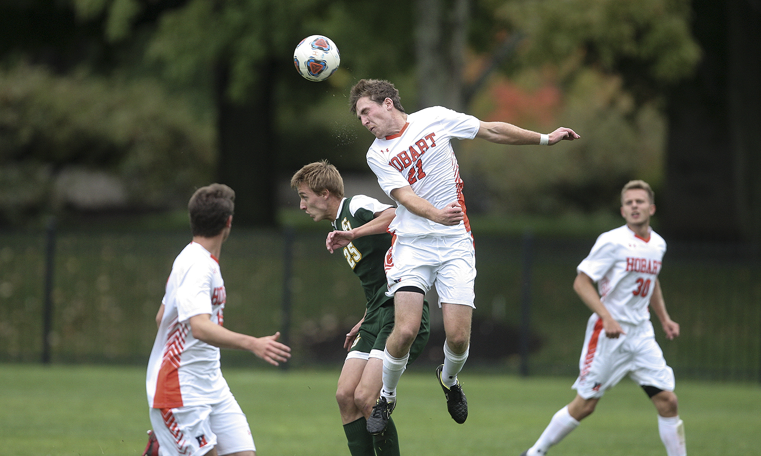 Hunter Critchlow '18 gets a head on the ball during Saturdays match-up with Clarkson on Cozzens Field. The Statesmen won the game 2-1 in overtime.
