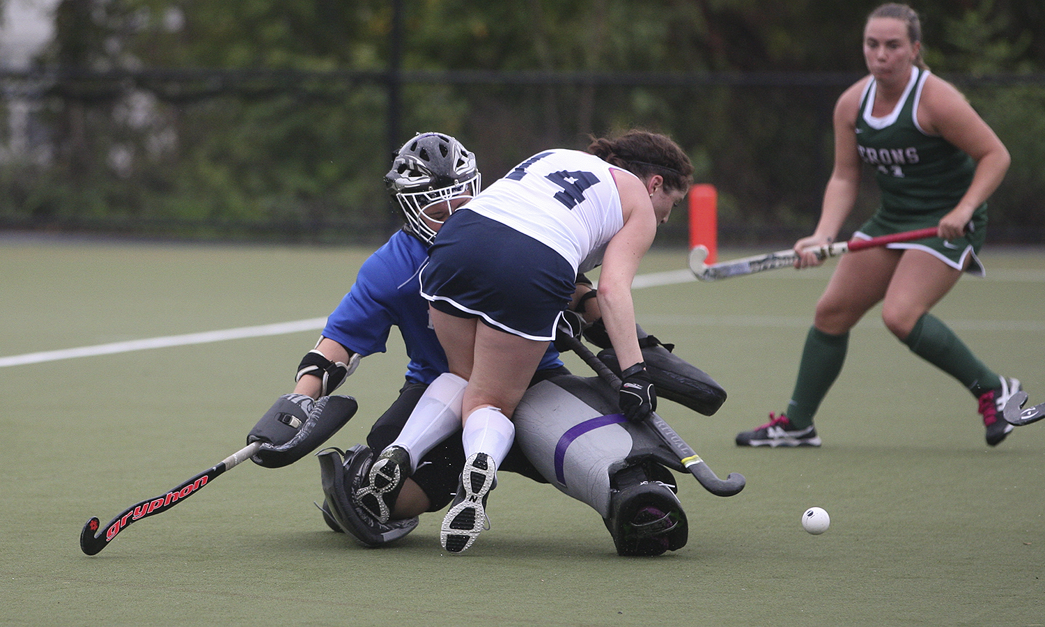 Goalkeeper Biz Chirco '17 takes on the Ithaca offense during Saturday morning's game on McCooey Field. The Heronâs came away with a 6-2 win.