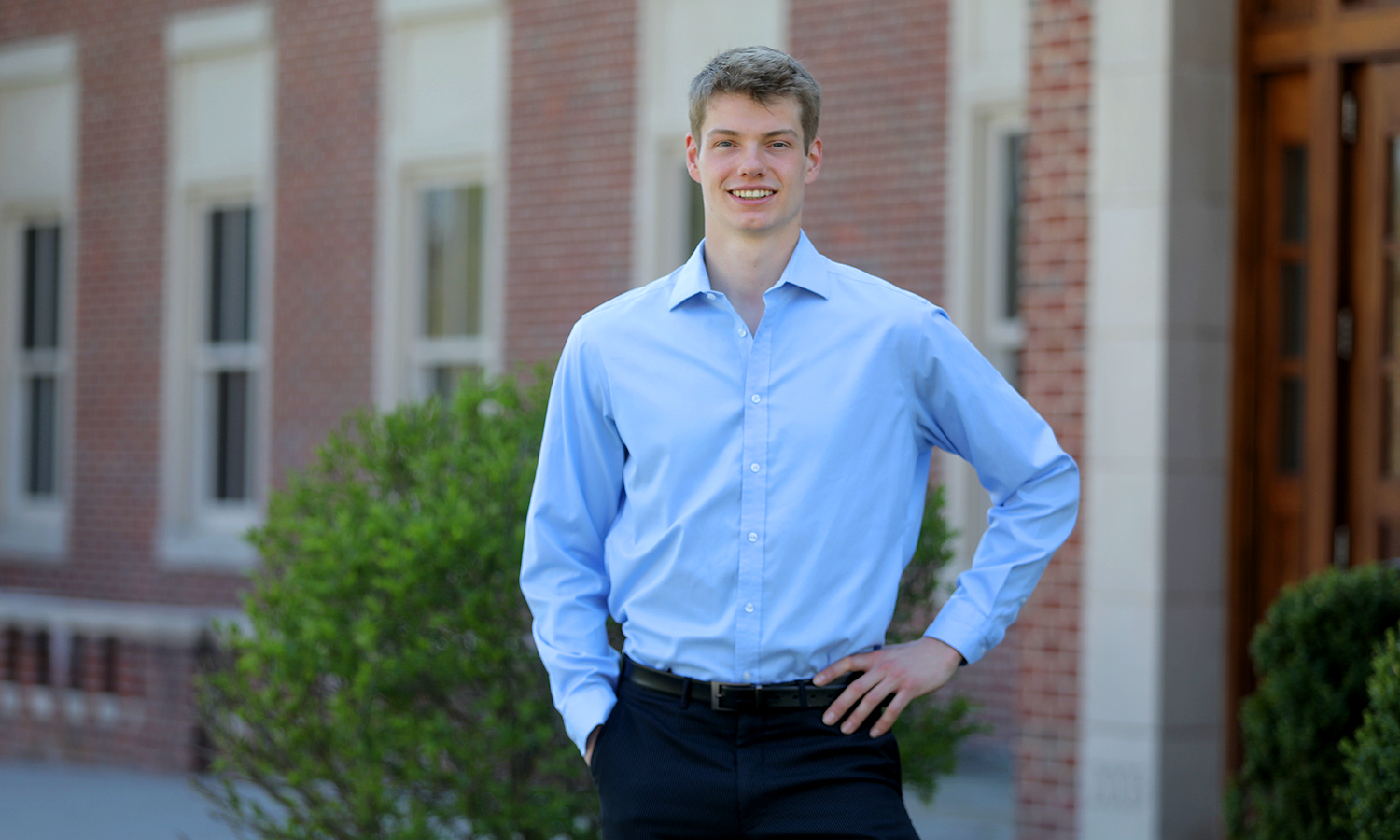 Cole Bardawill '18 poses for a photo in front of Stern Hall. Bardawill recently accepted a position working as an Analyst at Goldman Sachs, a leading global investment banking, securities and investment management firm.