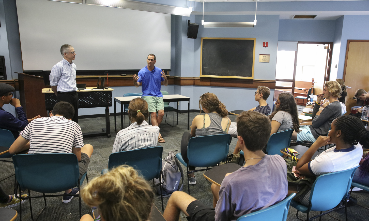 Associate Professor of Chemistry Justin Miller and Associate Director of Health Professions Counseling and Fellowship Advising Scott MacPhail speak to students about the Colleges' pre-health program during an information session in Napier Hall.