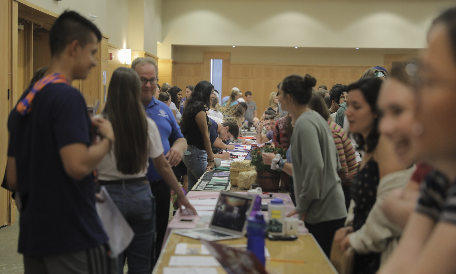 Students explore more than 100 clubs and activities during the Spring Involvement Expo in the Vandervort Room.