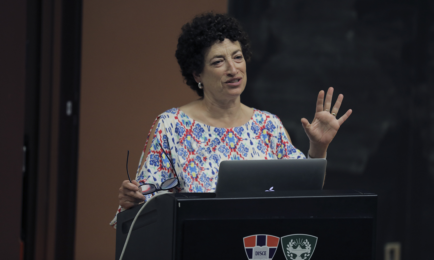"Professor of the History of Science at Harvard University Naomi Oreskes delivers her talk titled ""Climate Change: What Now? in the Geneva Room on Tuesday."