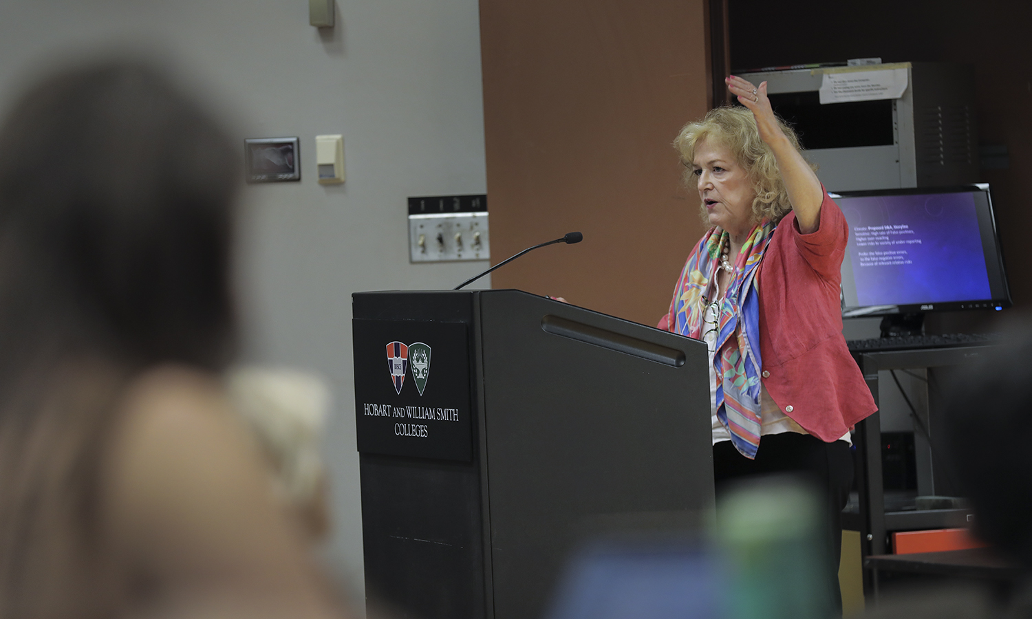 Elisabeth Lloyd, the Arnold and Maxine Tanis Chair of History and Philosophy of Science at Indiana University discusses new methods of attributing cliamte change during the The Climate Change and Philosophy Colloquium on Thursday.