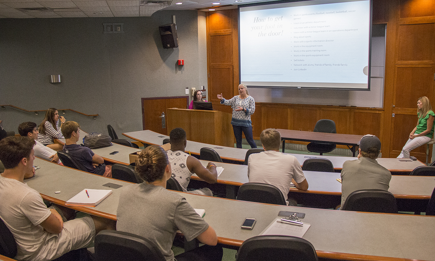 The Career Service Center hosts an information session in the sanford room for students interested in going into the business side of sports