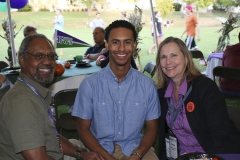 Donovan Hayden '19 enjoys time with his parents at Quad- A-Polooza during Homecoming and Family Weekend.