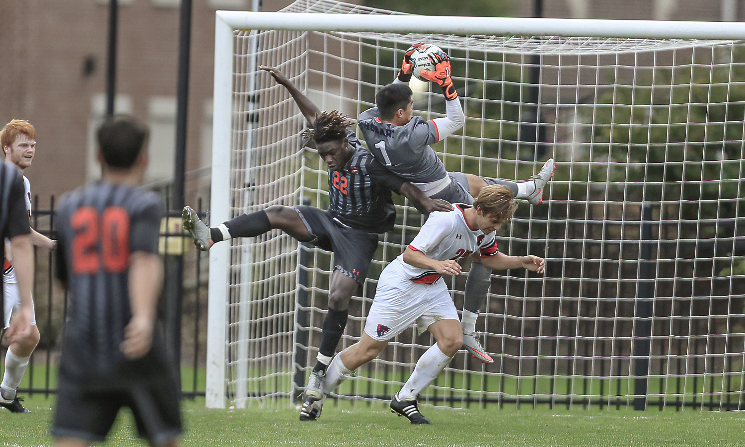 Guillermo Castaneda Chang makes the save in the 2nd half of the RIT game on Cozzens Field Wednesday.  Chang made five saves and earned his first shut out of his collegiate career in the 0-0 game.