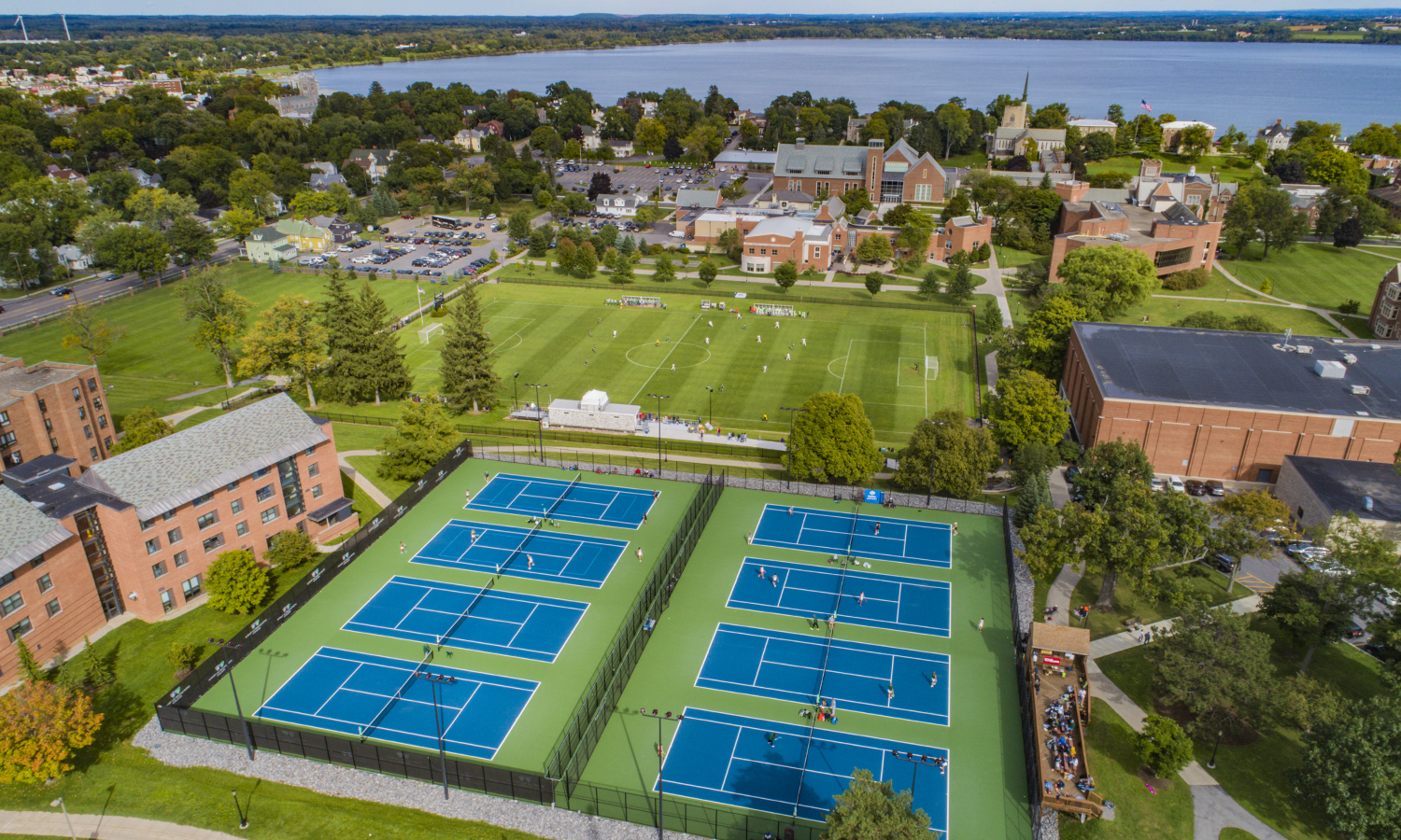 An aerial view of a William Smith Tennis practice.