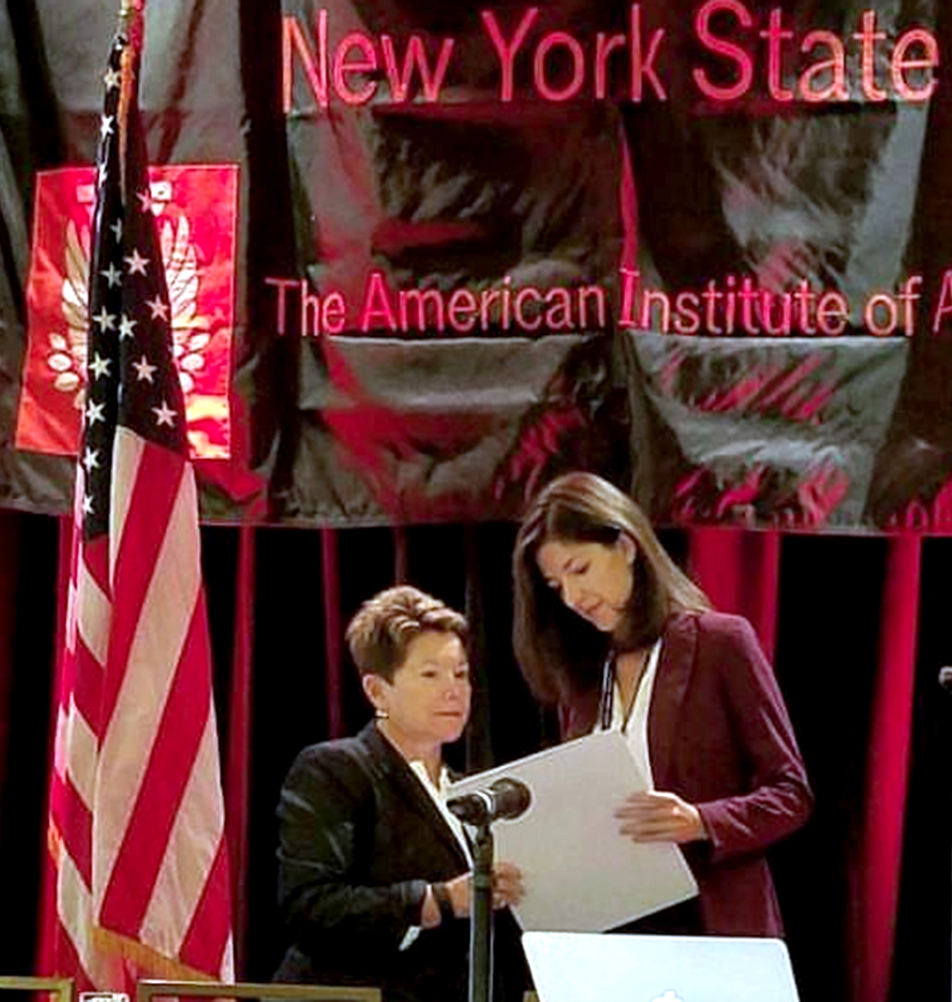 Makenzie Leukart '12 receives the New York State student of the year award from the American Institute of Architects (AIA). Leukart is a junior designer for Marvel Architects in New York City.