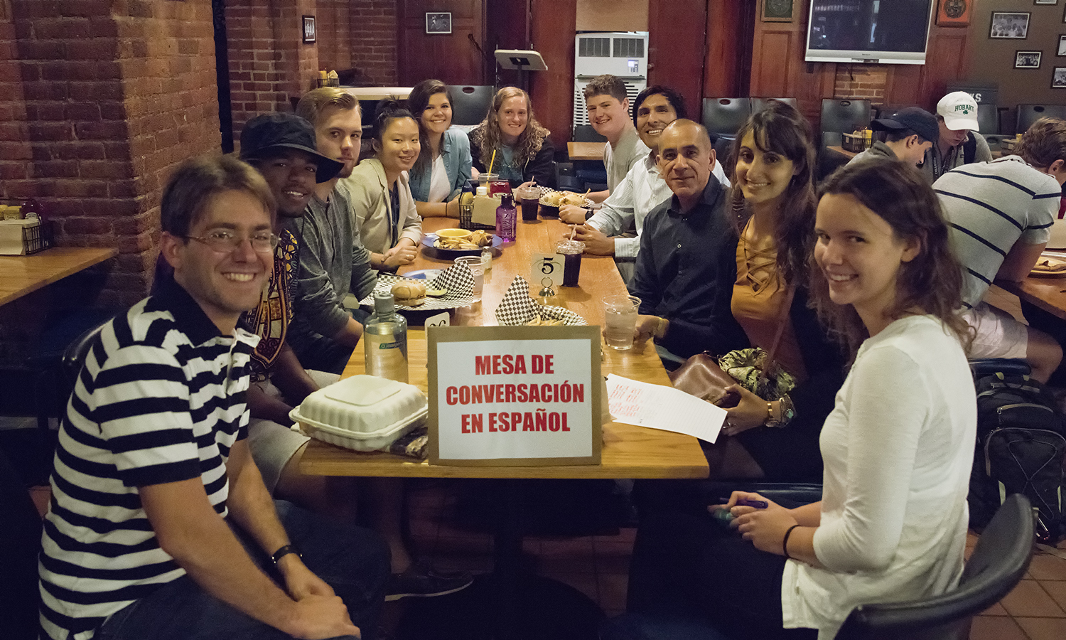 The Spanish Conversation Table holds their weekly meeting from 12:30-1:30 PM in the Cellar Pub. Consisting of students, Spanish teaching fellows and faculty members, the group covers a variety of conversation topics and is open to any student on campus looking to practice their Spanish language skills.