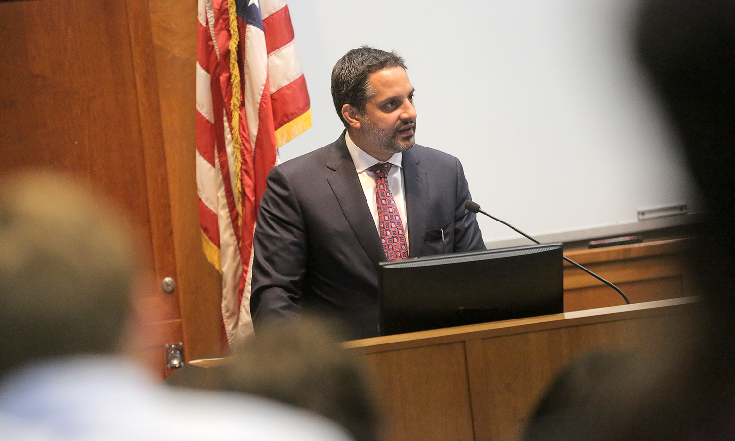 "Dr. Eduardo M. Peñalver, the Allan R. Tessler Dean and Professor of Law at Cornell University, delivers his talk titled ""Varieties of Diversity in Constitutional Lawmaking"" in the Sandford Room of Warren Hunting Smith Library."