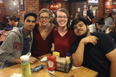 """Hamdan Ahmed '20, Tori Swanson '20, Carly Kelly '20 and Zohaib Ahmad '20 gather for a photo during the After Dark Series event """"Fondue Friday Face-off."""""""