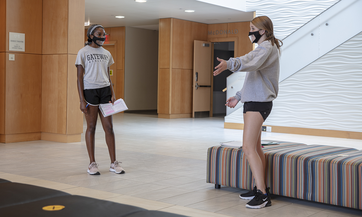 Theatre Class KColton,  Eliyah Roberts '24, Kathleen Hanson '24 practice there lines during Chris Hatches Theatre class in the Gearan Center