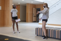 Theatre Class KColton,  Eliyah Roberts â24, Kathleen Hanson â24 practice there lines during Chris Hatches Theatre class in the Gearan Center