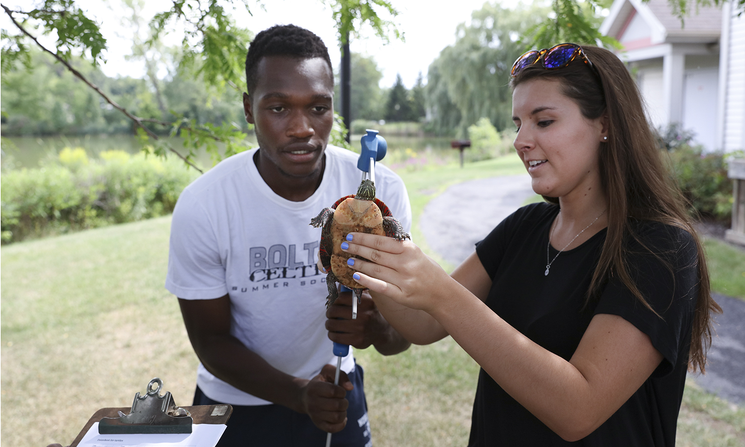 Derrick Acheampong and Colleen Frank measure the carapace length of a painted turtle in Bradl Cosentinoâs Bio Class.