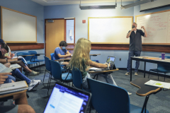"""Dunn Kevin Classroom KColtonThe course in POL 380: Theories of International Relations.  Yesterday we were discussing Immanuel Kant and his essay """"Toward Perpetual Peace."""""""