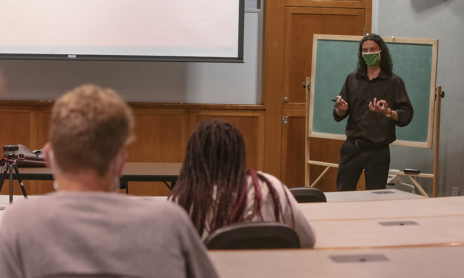 """Slade Virgil Classroom  KColton That class is FSEM 025 - """"Unfreedoms and the 'Problem' of Race"""" and the lecture was titled """"The Problem of the Single Story""""."""
